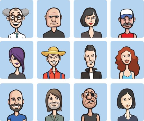 funny cartoon faces vector collection